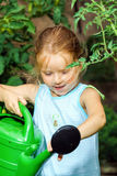 Cute little girl watering tomato and flowers in the backyard Stock Image