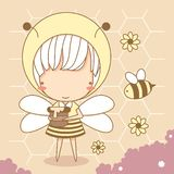 Cute little girl wear bee costume. Hold honey pot. yellow theme, Vector illustration, character design stock illustration