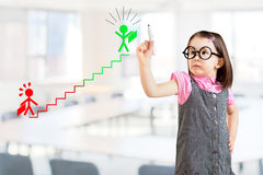 Cute little girl wearing business dress and drawing a career ladder concept. Office background. Royalty Free Stock Photography