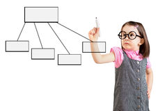 Cute little girl wearing business dress and drawing a flowchart 1. White background. Stock Photos