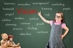 Cute little girl wearing business dress and showing concept of vision on green chalk board. Royalty Free Stock Photos