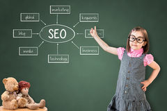 Cute little girl wearing business dress and showing a SEO schema on green chalk board. Stock Image
