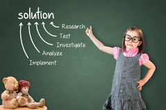 Cute little girl wearing business dress and showing solution finding method on green chalk board. Stock Images