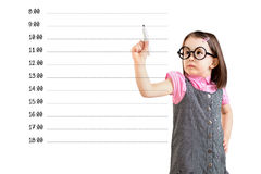 Cute little girl wearing business dress and writing blank appointment schedule. White background. Cute little girl wearing business dress and writing blank royalty free stock photos