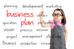 Cute little girl wearing business dress and writing business plan concept. White background. Stock Image
