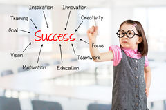 Cute little girl wearing business dress and writing success concept. Office background. Stock Photo