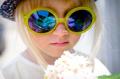 Cute little girl wearing mirrored round sunglasses Stock Photography