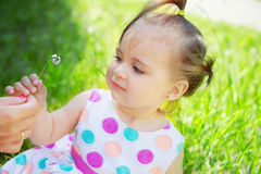 Cute little girl wearing polka dots dress sitting on the grass Stock Photos