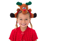 Cute little girl wearing rudolph headband Stock Image