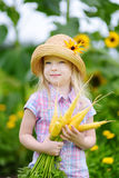 Cute little girl wearing straw hat holding a bunch of fresh organic carrots Royalty Free Stock Photos