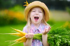 Cute little girl wearing straw hat holding a bunch of fresh organic carrots Stock Photo