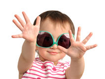 Cute little girl wearing sunglasses Stock Images