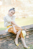 Cute little girl wearing typical thai dress Stock Photos