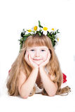 Cute little girl wearing a wreath isolated on whit Royalty Free Stock Image