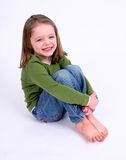 Cute little girl on white Royalty Free Stock Photo