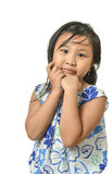 Cute Little Girl On White Background Stock Photography