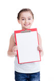 Cute little girl with white blank. Royalty Free Stock Photography