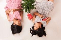 Cute little girl white gift box stock image