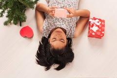 Cute little girl white gift box stock images