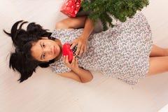Cute little girl white gift box stock photo