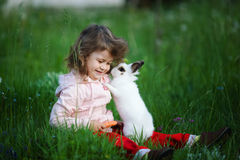 Cute little girl with white rabbit Stock Image