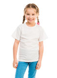 Cute little girl in a white T-shirt Stock Image