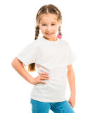 Cute little girl in a white T-shirt Stock Images