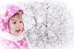 Cute little girl on winter stock photos