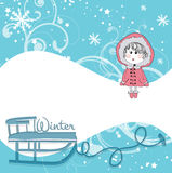 Cute little girl on winter background Stock Images