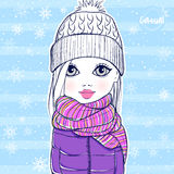 Cute little girl in winter clothes. Stock Images