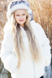 Cute little girl in winter clothes outdoors Royalty Free Stock Photos