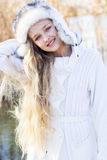 Cute little girl in winter clothes outdoors Royalty Free Stock Photography