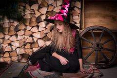 Cute little girl witch Royalty Free Stock Photos