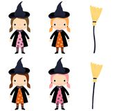 Cute little girl in witch costume with broom. Cute vector little girl in witch costume with broom for Halloween designs Stock Images