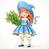 Cute little girl in witch costume holding an armful of herbs Royalty Free Stock Images