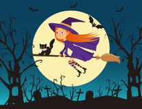 Cute little girl witch with a kitten flying on a broom Stock Images
