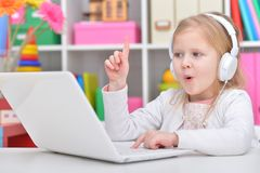Cute Little Girl With Laptop Royalty Free Stock Image