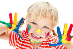 Cute Little Girl With Painted Hands Royalty Free Stock Images