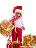 Cute little girl with a xmas gift Stock Images
