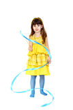 Girl with blue ribbon Royalty Free Stock Images