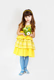 Cute girl in yellow Royalty Free Stock Photo