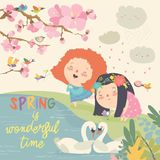 Cute little girls and birds playing in the spring garden stock illustration