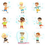 Cute little girls and boys blowing and playing soap bubbles. Cartoon detailed colorful Illustrations isolated on white background Stock Image