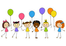 Cute little girls with color balloons Stock Photo