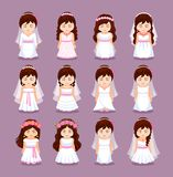 Cute little girls dressed in different white wedding dresses for greeting. Kawaii cartoon characters for engagement and marriage party invitation, bride tailor stock illustration