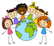 Cute little girls with Earth planet Stock Images