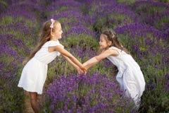 Cute Little Girls Having Fun In A Lavender Field Royalty Free Stock Photo