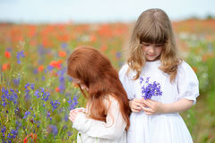 Cute little girls holding a flower outdoors in poppy field Royalty Free Stock Images