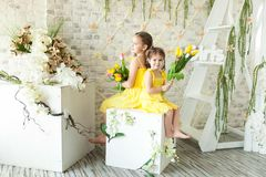 Cute Little Girls In Spring Studio Stock Images
