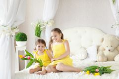 Cute Little Girls In Spring Studio Royalty Free Stock Images